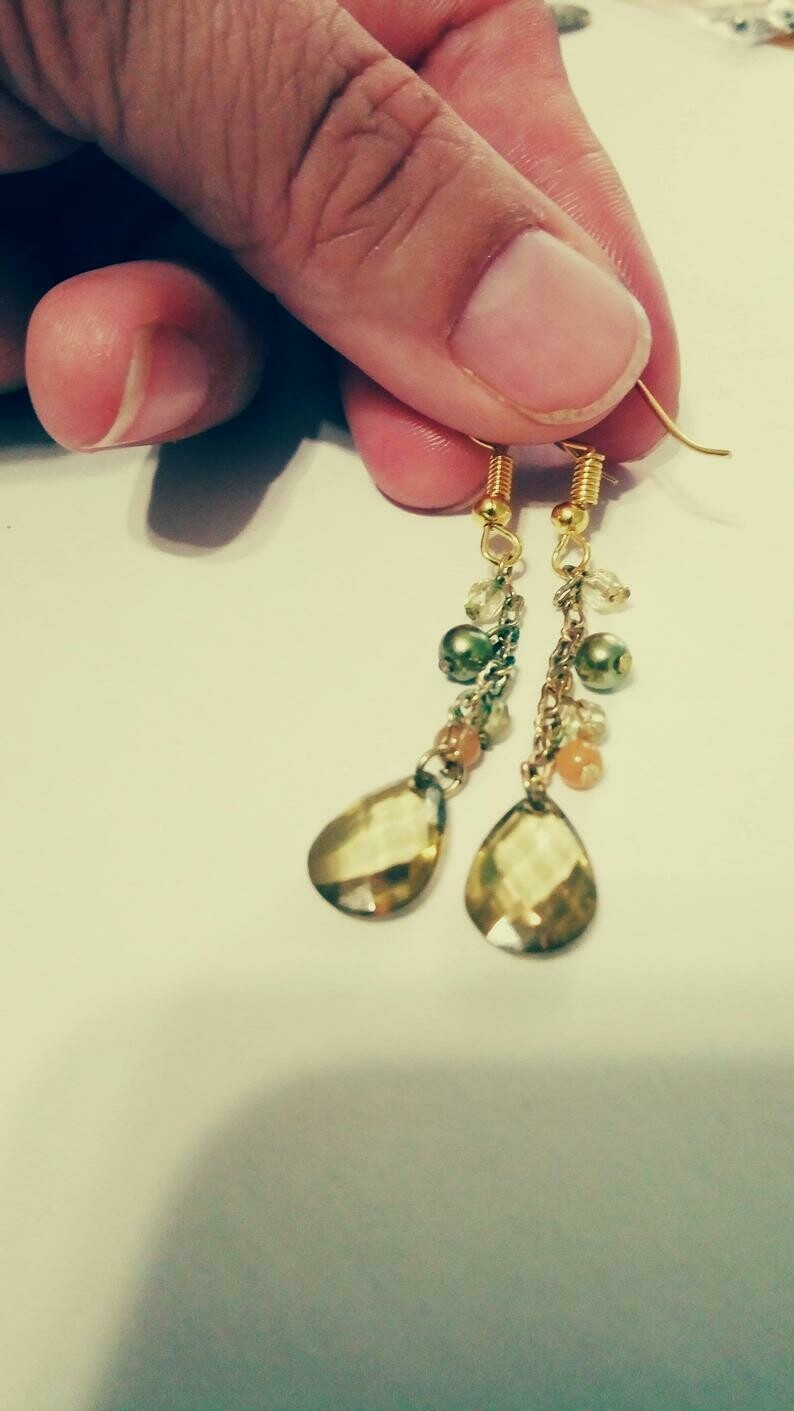 Gold Chain Beaded Teardrop Earrings *free scented gift bag*