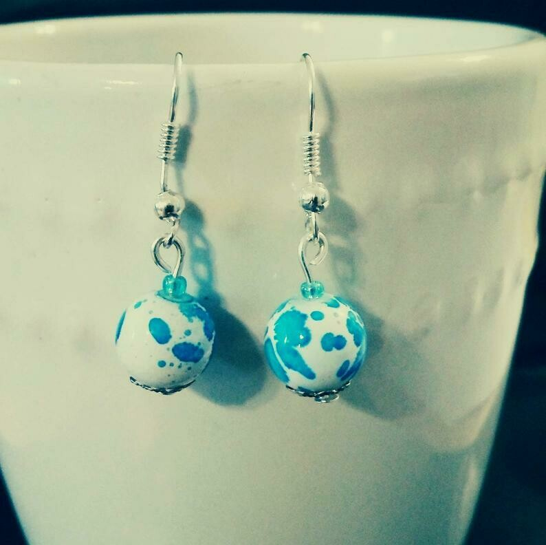 Ocean Blue Splatter Glass Bead Earrings *free scented gift bag*