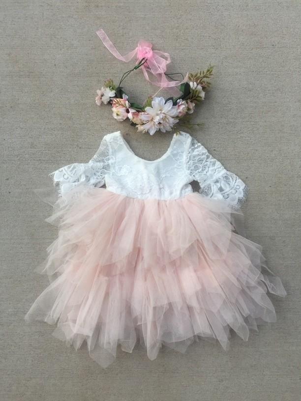Aurora Grace Dress | With Sleeves | White & Peach