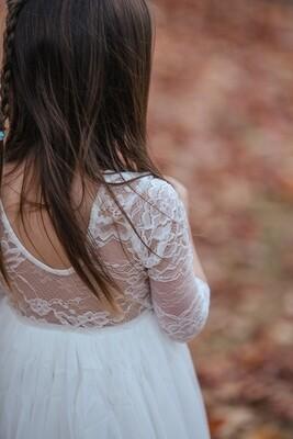 Juliette Dress Scoop Back Long Sleeves | White