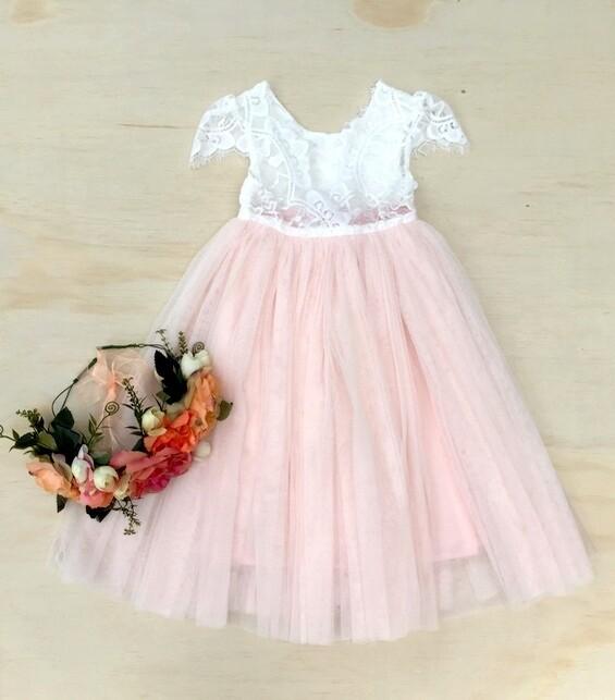 Celeste Dress   White & Peach   Full Length
