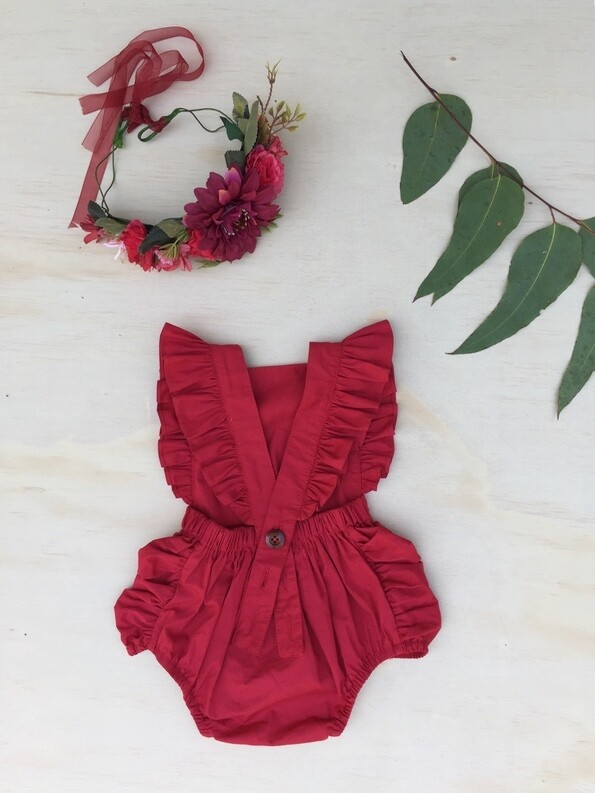 RUBY Girls Christmas Ruffle Romper With Head Wrap | Rich Red