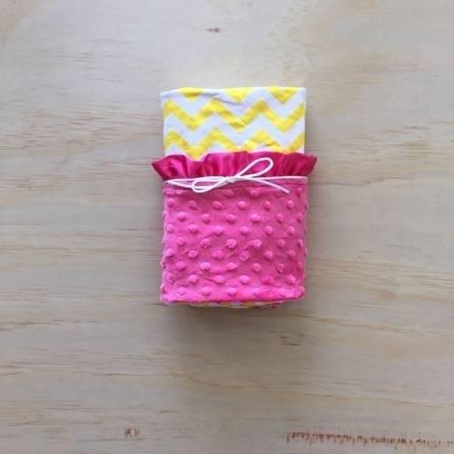 Yellow Chevron   Hot Pink   Minky Baby Blanket