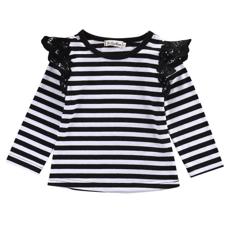 Long Sleeve Flutter Top | B&W Stripe