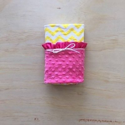 Yellow Chevron | Hot Pink | Minky Baby Blanket