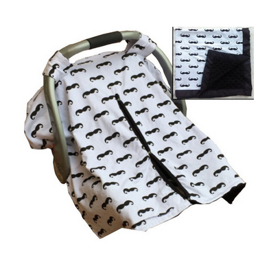 Mustache Minky Car Seat Canopy | Snap Opening | Universal