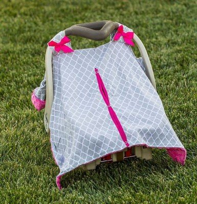 Moroccan Hot Pink Grey Minky Car Seat Canopy | Snap Opening | Universal