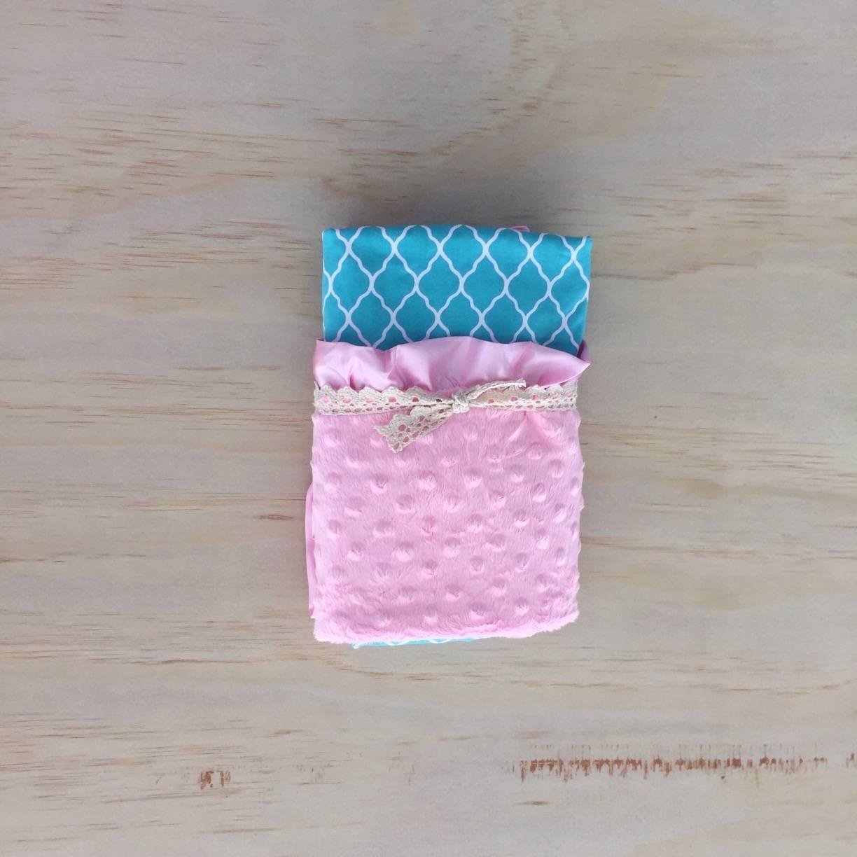 Teal Moroccan | Light Pink | Minky Baby Blanket