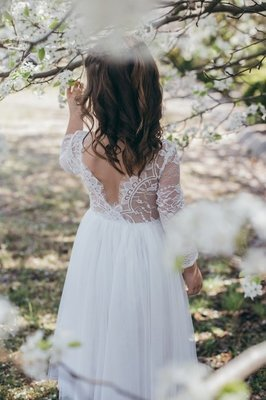 Juliette Dress Long Sleeves V Back | Ivory