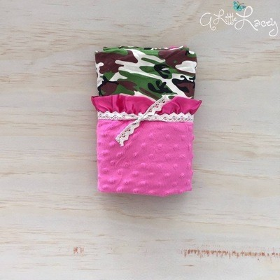 Camouflage | Hot Pink | Minky Baby Blanket