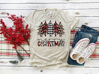 Merry Christmas Buffalo/Leopard Tee - Customize