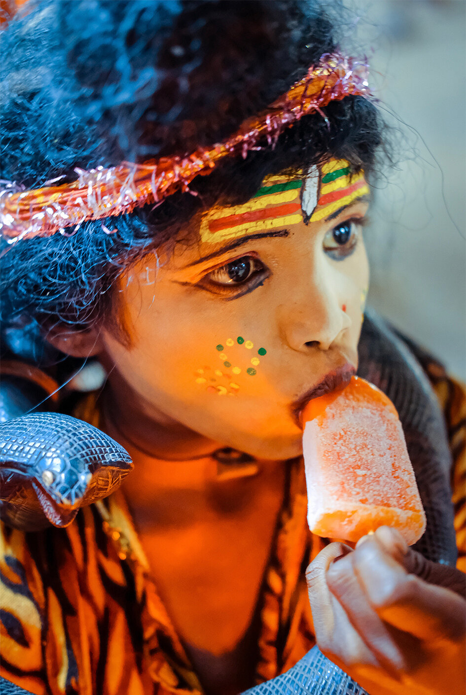 Shiva eating an ice cream