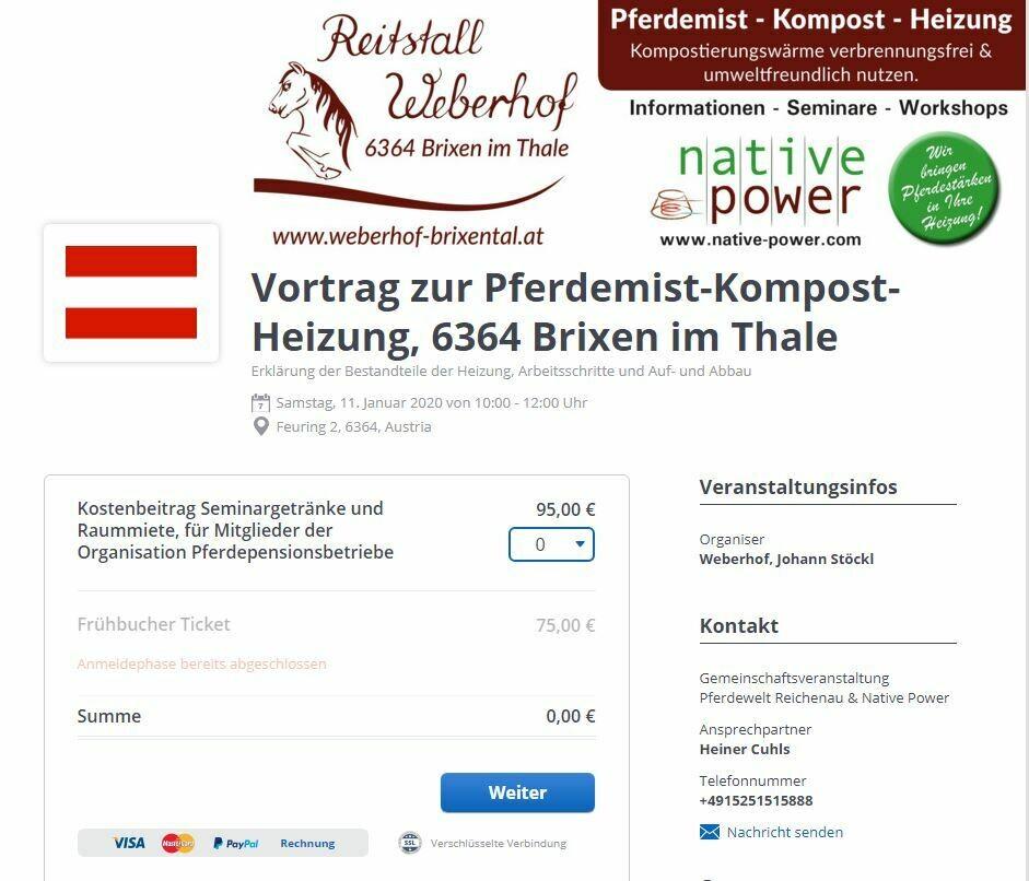 Gutschein zum Vortrag Mist-Volumen-Reduzierung, Kompost, sowie Kompost & Wärme. Pferdemist-Kompost-Heizung, Sonderpreis € 75,00  (netto € 63,03) statt € 95,00 (netto € 79,83)