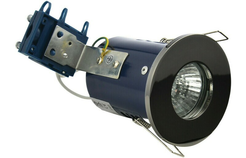 Firerated Shower Downlight - Black Chrome