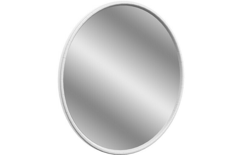 Lucia 550x550mm Round Mirror - Satin White Ash