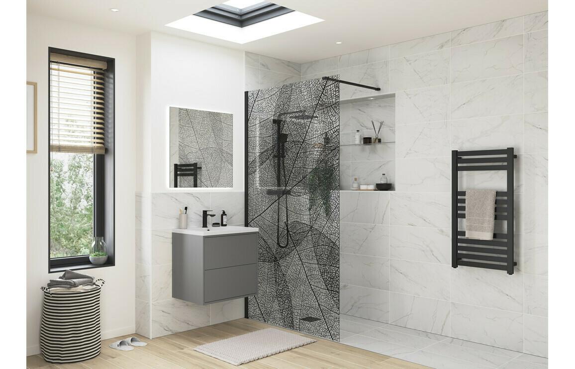 RefleXion 8 Black Leaf Design Wetroom Panel - 1200mm