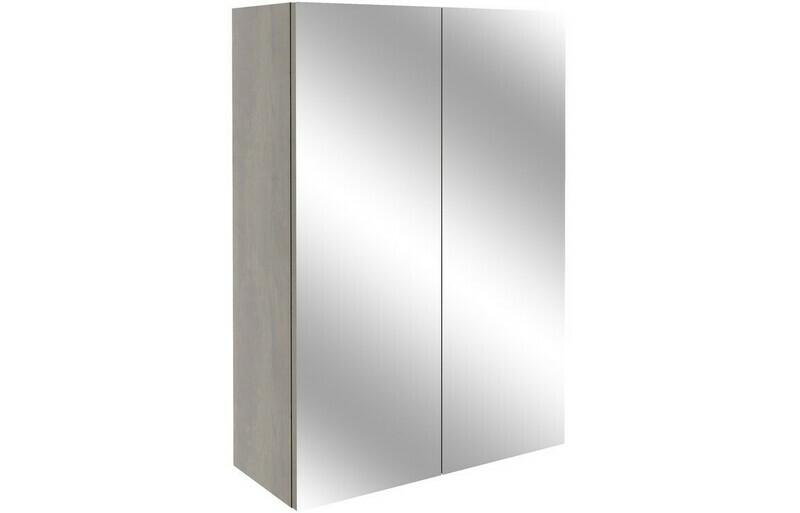 Alba 500mm Mirrored Unit - Grey Nebraska Oak