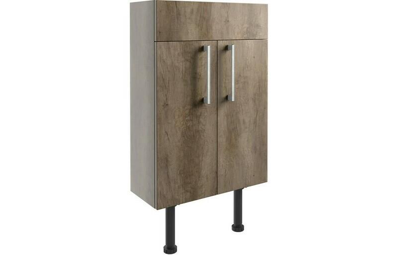 Alba 500mm Slim Vanity Unit - Grey Nebraska Oak