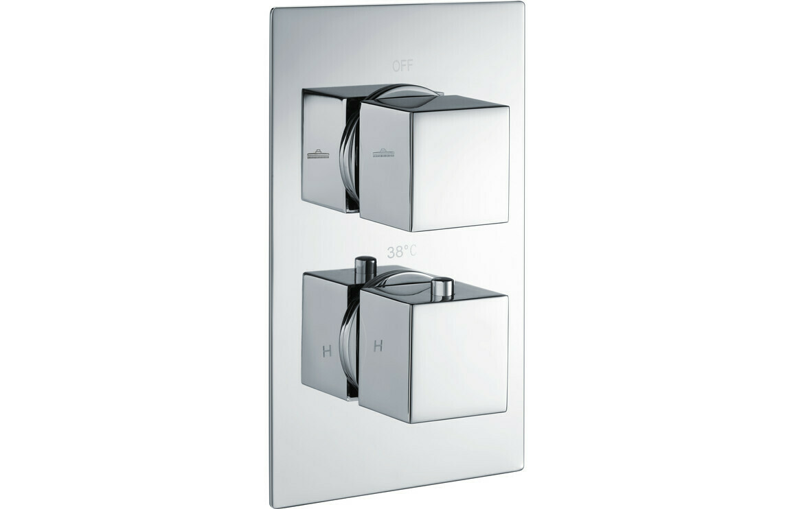 Kuba Thermostatic Twin Shower Valve - Two Outlet