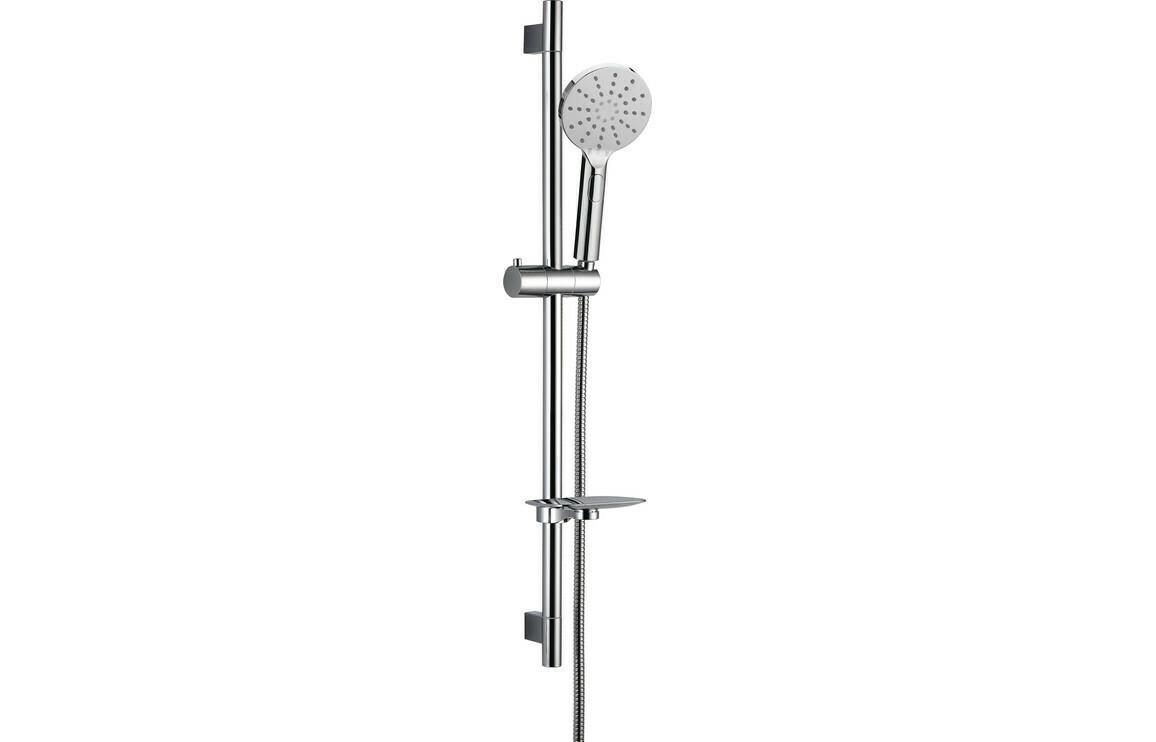 Round Push Button Shower Kit - Chrome