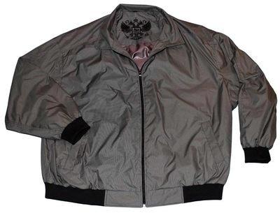 Куртка-ветровка большого размера бомбер из плащевки серого цвета