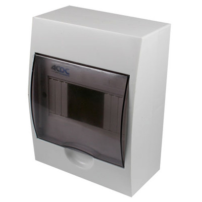 WHITE DIN DB 6-WAY SURFACE WITH DOOR AND TRAY