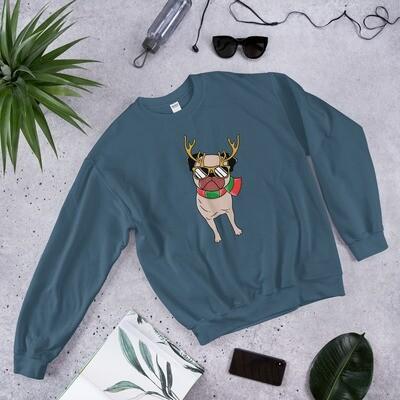 Christmas winter dog pug puppy reindeer American Unisex Sweatshirt