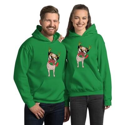 Christmas winter dog pug puppy reindeer American Unisex Hoodie