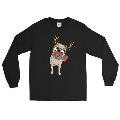Christmas winter dog pug puppy reindeer American Unisex Long Sleeve Shirt