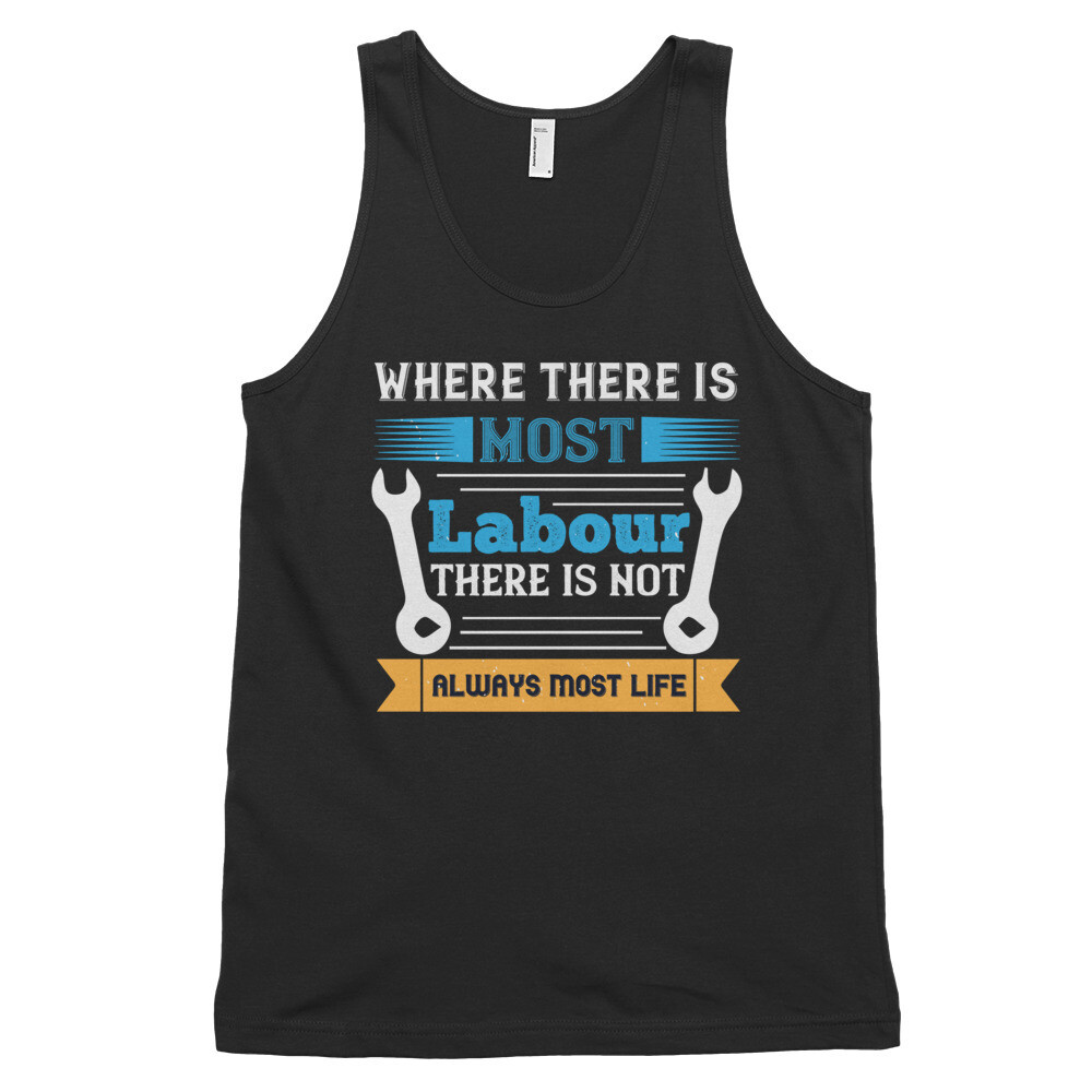 Where there is most labour there is not always most life   Labor day Classic tank top (unisex)