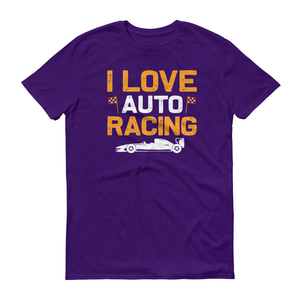 I love auto racing | flag car Short-Sleeve T-Shirt