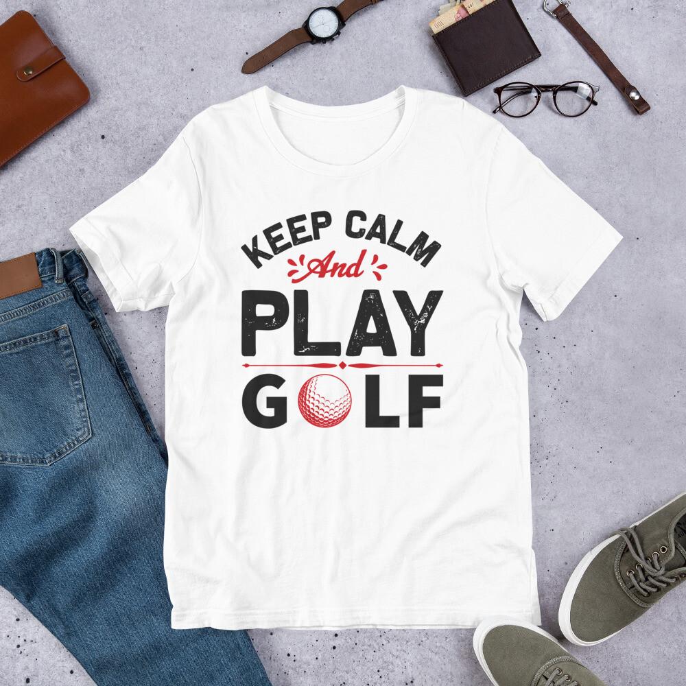 Keep calm and play golf Short-Sleeve Unisex T-Shirt