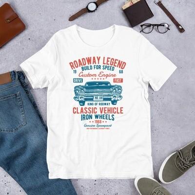 Roadway legend build for speed classic vehicle iron wheels Short-Sleeve Unisex T-Shirt