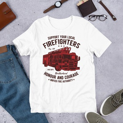 Firefighter support your local honour and courage unified fire authority Short-Sleeve Unisex T-Shirt