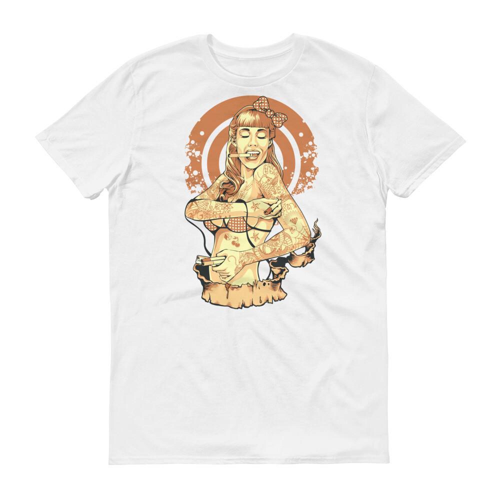 Sexy lady smoking bikini Short-Sleeve T-Shirt