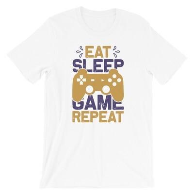 Eat sleep game repeat video computer games Short-Sleeve Unisex T-Shirt