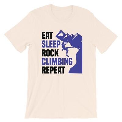 Eat sleep rock climbing repeat funny Short-Sleeve Unisex T-Shirt