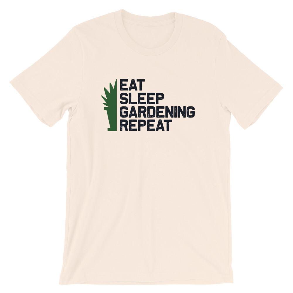 Eat sleep garderning repeat Short-Sleeve Unisex T-Shirt