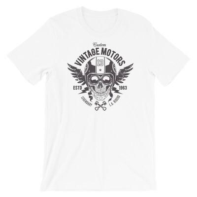 Custom vintage motors legendary skull Short-Sleeve Unisex T-Shirt