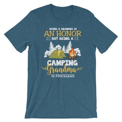 Being a grandma is an honour but being a camping grandma is priceless .Short-Sleeve Unisex T-Shirt