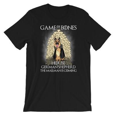 Game of bones house german shepherd the mailman is coming Short-Sleeve Unisex T-Shirt