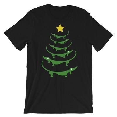 Christmas dachshund dog palm tree Short-Sleeve Unisex T-Shirt