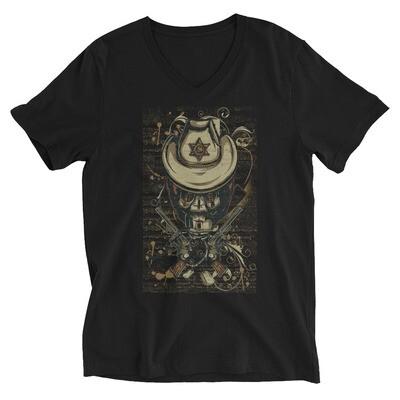 Cowboy iron alien skull Unisex Short Sleeve V-Neck T-Shirt