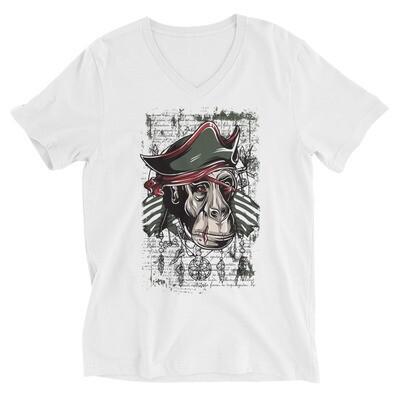 Pirate monkey Unisex Short Sleeve V-Neck T-Shirt