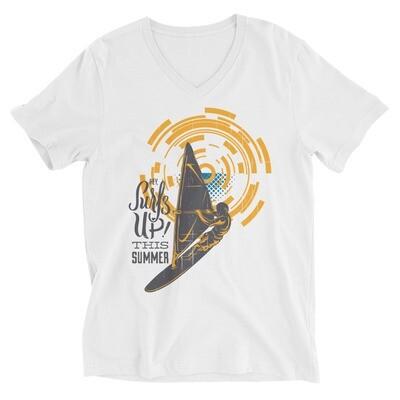 Surfs up this summer boat sailing Unisex Short Sleeve V-Neck T-Shirt