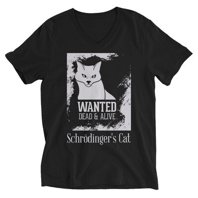 Wanted dead and alive schrodinger's cat Unisex Short Sleeve V-Neck T-Shirt