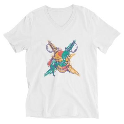 Pirate skull and swords Unisex Short Sleeve V-Neck T-Shirt