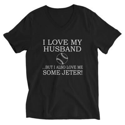 i love my husband but i also love me some jeter | Tennis Unisex Short Sleeve V-Neck T-Shirt