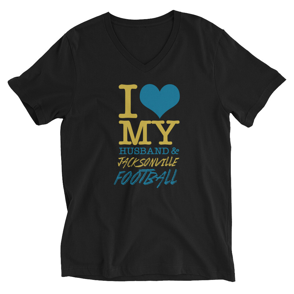 i love my husband and jacksonville football Unisex Short Sleeve V-Neck T-Shirt