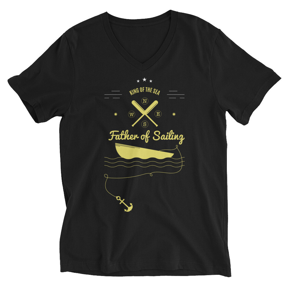 King of the sea father of sailing Unisex Short Sleeve V-Neck T-Shirt